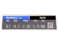 Biofinity Toric (3lente) - Attributes preview